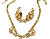 Vintage Necklace & Earrings Set Champagne Faux Moonstone With Yellow Rhinestones