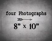 Set of 4 Prints at 8x10 - Photography set - 4 Photo Set