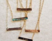 Hand Stamped Bar Necklace Silver or Gold Mermaid Sun Kissed Gypsy Gypsea Wanderlust Aloha Salty