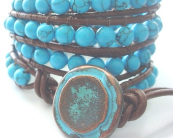 Free US shipping! Leather Wrap Turquoise Gemstone Rustic Leather Four Wrap Bracelet