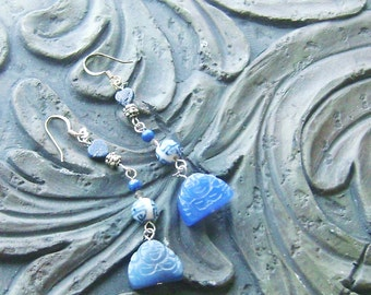 Blue Agate Buddha and Lapis Lazuli Heart Gemstone Earrings -Heart of Buddha-Blue, Double Happiness on Silver