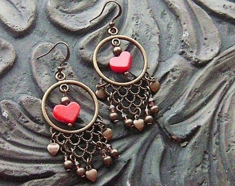 Red Coral Hearts on Brass Earrings -A Gypsy Valentine- Red Coral, Topaz Crystals on Brass Hoops, No. 2