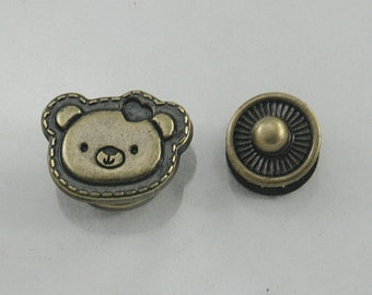 4 sets.Antique Brass Teddy Bear Head Snaps Buttons Fasteners Rivets Studs Decorations Findings 16 mm. BR 17 RC
