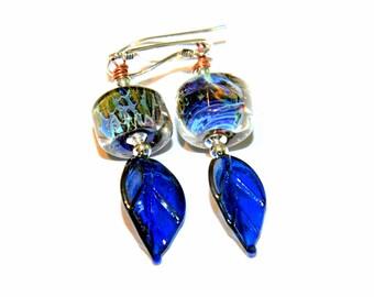 Cobalt Blue Glass Bead Earrings. Deep Blue Lampwork Earrings with Shiny Leaf Headpins. Dangle Earrings. Glass Bead Jewelry.