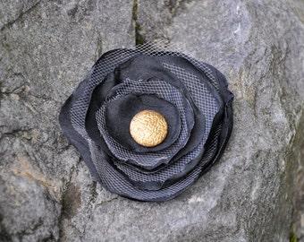 Fabric Flower Brooch - Handmade Flower Brooch - Black, Grey, Gold