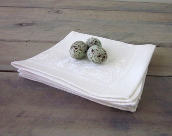 White Linen Damask Napkins Set of Four