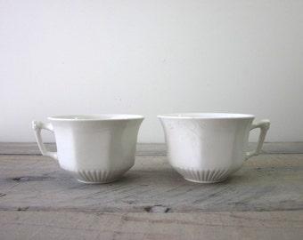 Vintage White Ironstone Teacups Wm Adams & Sons Set of Two