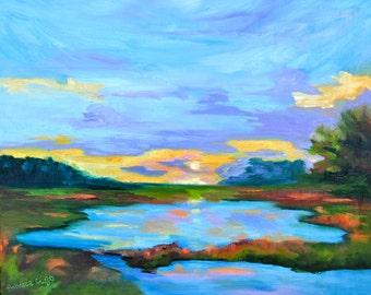 16 x 20 Landscape Original Oil Painting of Sunset Marsh by Rebecca Croft