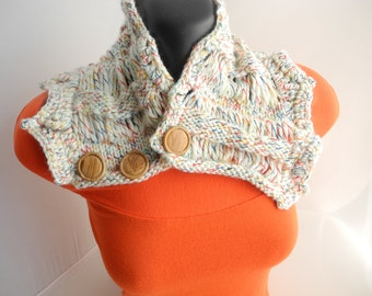 White Tweed Neck Warmer with Wood Buttons