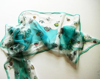 Silk scarf Mint Green on chiffon silk - brides gift - small flowers hand painted on  scarves - woman wearable art painted - long scarf