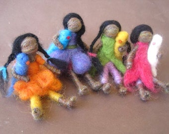 4 Dolls, Needle Felted Doll, Native american doll, Waldorf toy, indian doll, long hair, Doll with Bird, 4 inch, Design by Borbala Arvai