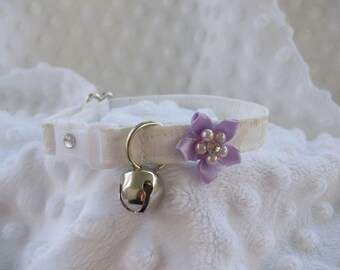 Wedding  Cat Collar with Rhinetones and bell   Wedding Cat  Breakaway Collar Custom Made