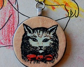 Handmade Mr. Tom Fluffy Cat with Red Bow Tie Necklace with Vintage Illustration on Round Wood Pendant.