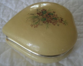 Vintage Italian Alabaster Hinged Lid Heart Shape Trinket or Jewelry Box with Decal of Lilacs