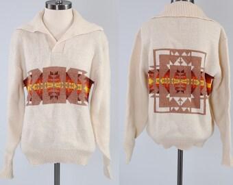 SALE Vintage 70s cream knit Southwestern sweater / Pendleton style Chief Joseph design