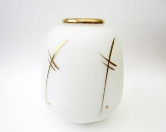Ancient CHANDELIER GLOBE⎮Art Deco frosted milk glass⎮golden decor⎮Mad men minimalist