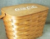 Wood Picnic Basket , Picnic Set , Coca Cola , Longaberger Style , Woven Slat , Large Basket , Storage Basket , Woven Wood Basket