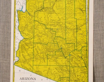 Map , Arizona , Arkansas , Loose Map , Crams 1965 Atlas , State Map , Colorful , United States , Southwestern State , American , Southern