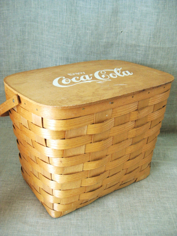 Wooden Picnic Basket Set : Wood picnic basket set coca cola longaberger