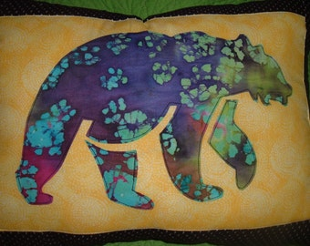 Batik Fabric Bear Toss Throw Pillow Home Decor 2014 WonderlandShoppe Made