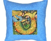 Quilted Pillow Cover Folk Art Guitar Playing Mermaid in Blue, Green, and Gold