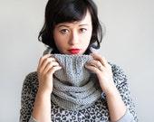Grey chunky hooded scarf - Infinity scarf