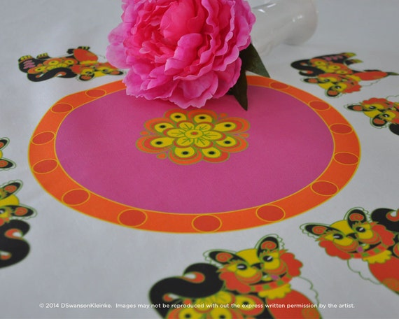 Dog Year Table Cloth, Chinese New Year Table linen, Spring Festival