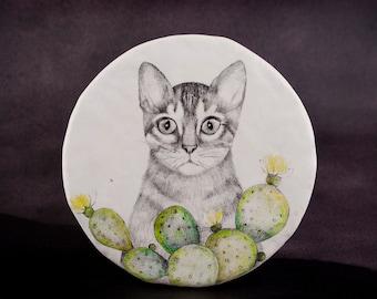 Cat Wall Decoration, Hanging Ceramic Sculpture, Animal Drawing, Geometry, Cactus, Porcelain Miniatures, Mixed Media, Air Dry Clay, Keramik