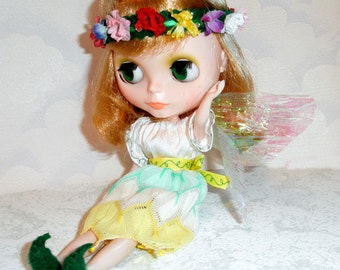 SALE Pixie FAIRY COSTUME  Blythe  w Wings, Headband, Shoes n more
