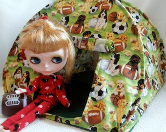 Pop Up TENT Sports DOGS for dolls or stuffed animals