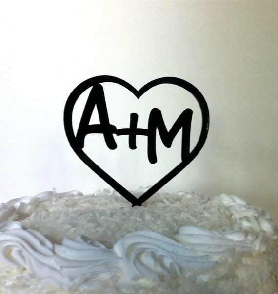 Heart MONOGRAM Wedding Cake Topper With By CreativeButterflyXOX