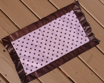 Lovey - Mini Blanket -  Light Pink with Brown Dots
