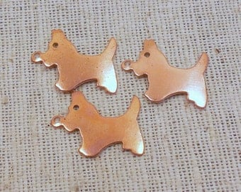 Vintage Copper Coated Steel Scottie Dog Charms (12)