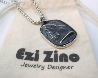 Original Ezi zino Roman dog tag Oxidized  coin Pendant Handmade solid Sterling Silver 925