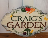 GARDEN Sign/ Personalized Decorative/Vegatable w/stake or ribbon/Gift/Garden Sign/Door Sign/Porch Sign/Shabby Chic/Cot