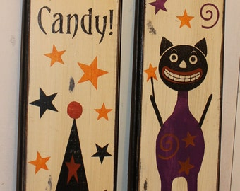 Halloween Signs/Black Cat/Wicked Good Candy/ Boo/Sign Vintage Style Halloween Sign/Vintage Black Cat/1940's Style/Halloween Decor/ Sign Set