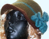 HAT WOMENS  KNITTED     Felted     Flower  Woman Girls Teens Warm Winter Gift Xmas Moms Sisters Brown Aqua