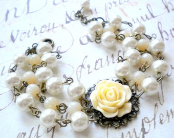 Statement Wedding Bracelet Pearl Bridal Bracelet Ivory Wedding Bracelet Ivory Rose Bracelet Ivory Wedding Jewelry Cottage Jewelry Gifts