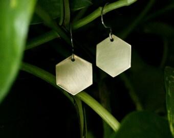 HANDMADE// Simple Brass Handcut Hexagon Dangle Earrings-Made To Order