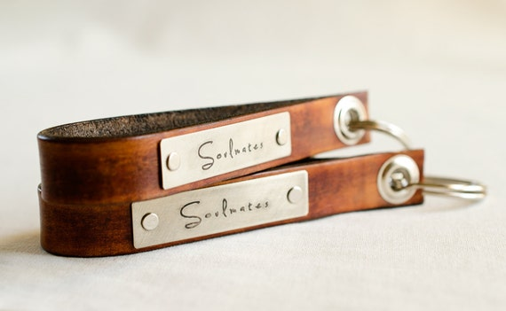 Soulmates Set of Two  Skinny Leather Key Chains- Personalized Leather Key Chain Accessory, Anniversary Gift, Custom Keychain, Wedding Gift,