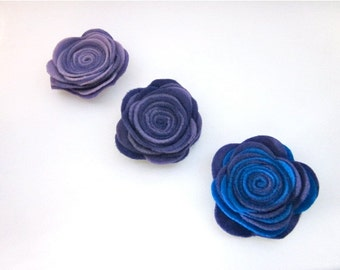 Purple Flower Pin -- Felt Flower Pin -- Felt Pin -- Large Felt Flower -- 3 color options