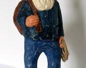 Hand Carved Whittled Cowboy Santa Original Wood Handmade Christmas, Birthday, Wedding, Home Decor Rodeo Folk Art  Sculpture