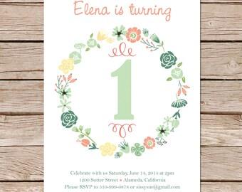birthday invitation / printable invites / Girl birthday invites / 1st birthday / Printable digital invite / Printed invite