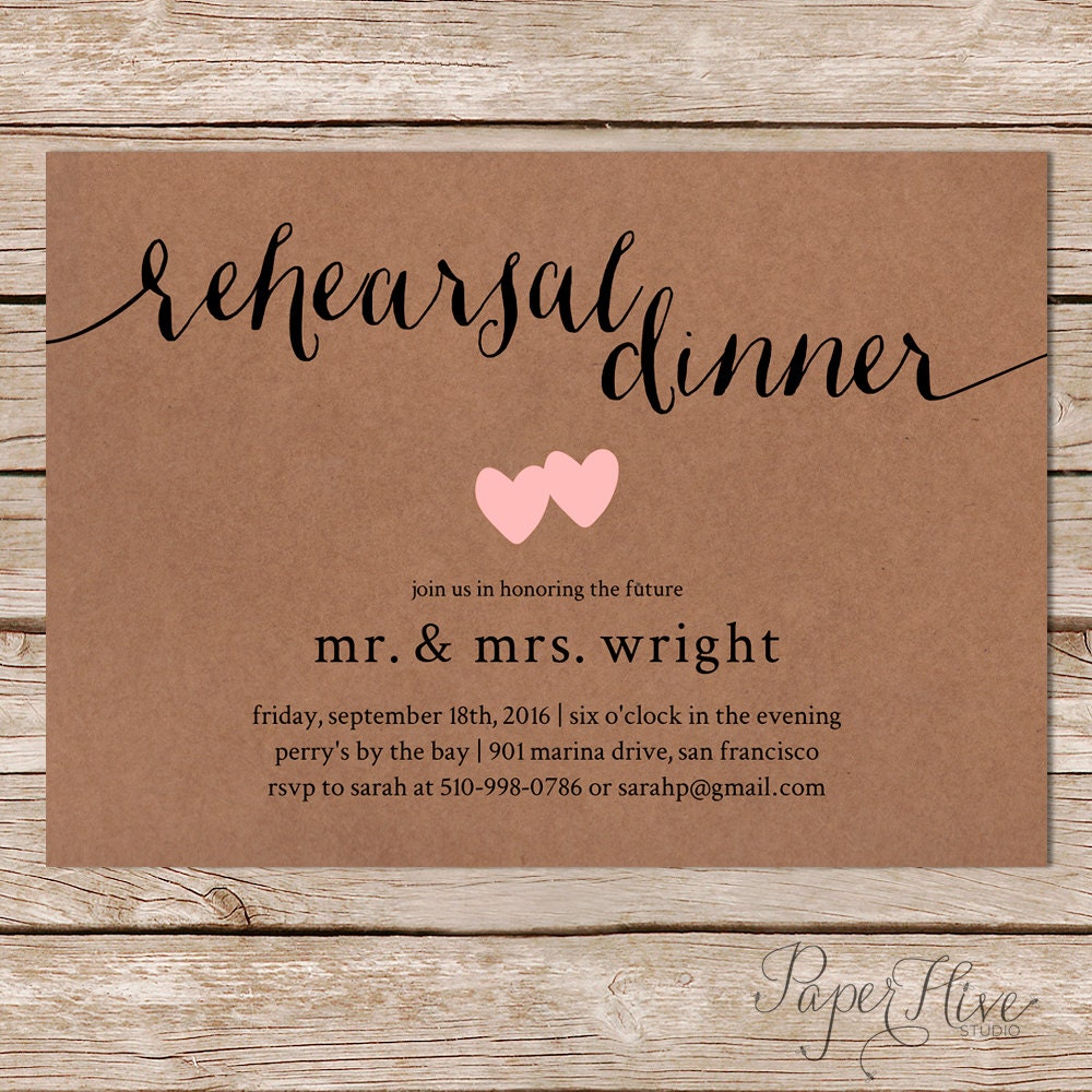 photo regarding Printable Rehearsal Dinner Invitations identified as Printable Rehearsal Meal Invite / Kraft Paper / Uncomplicated and