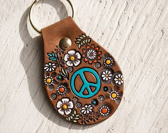 Peace Sign Floral Leather key ring - hand painted and hand stamped - Made to Order - key fob - keychain gift