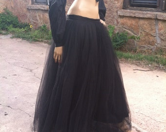 Super Full, Full Length Black Sparkle Tulle Skirt - custom sizes