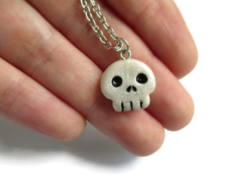 Creepy Skull Pendant Necklace - Polymer Clay Halloween Jewelry