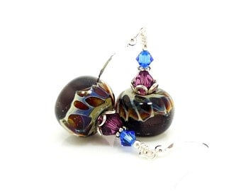 Purple Earrings, Boro Earrings, Lampwork Earrings, Glass Earrings, Glass Bead Earrings, Beadwork Earrings, Lampwork Jewelry, Glass Jewelry