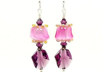 Pink Purple Earrings, Lampwork Earrings, Glass Earrings, Beaded Earrings, Beadwork Earrings, Bead Earrings, Unique Earrings, Drop Earrings