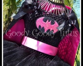 I'M BATGIRL Tutu Dress with Detachable and Reversible Cape in Hot Pink - Medium 2/3T